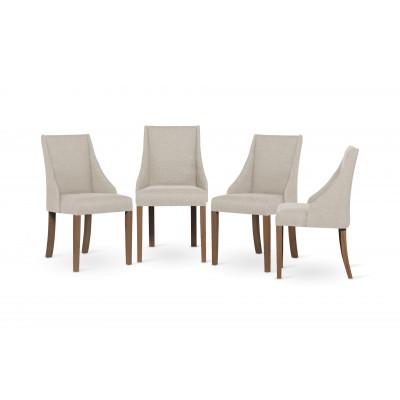 4-er Set Esszimmerstühle Absolu | Creme & Braune Beine