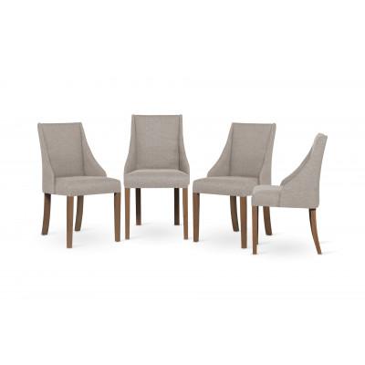 4-er Set Esszimmerstühle Absolu | Beige & Braune Beine