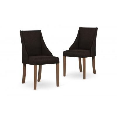 2-er Set Esszimmerstühle Absolu | Dunkelbraun & Braune Beine