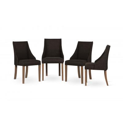 4-er Set Esszimmerstühle Absolu | Dunkelbraun & Braune Beine