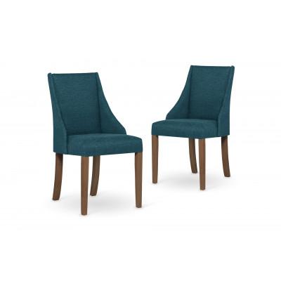 2-er Set Esszimmerstühle Absolu | Türkis & Braune Beine