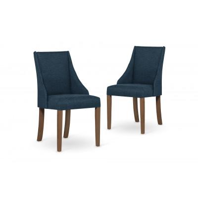 2-er Set Esszimmerstühle Absolu | Benzinblau & Braune Beine
