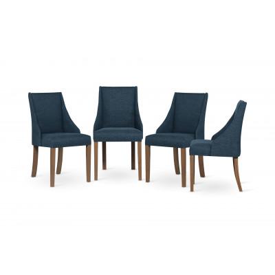 4-er Set Esszimmerstühle Absolu | Benzinblau & Braune Beine