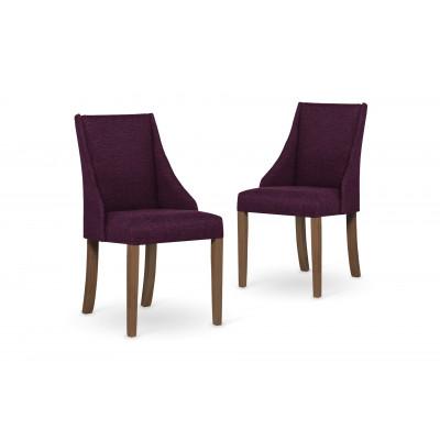 2-er Set Esszimmerstühle Absolu | Fuchsia & Braune Beine