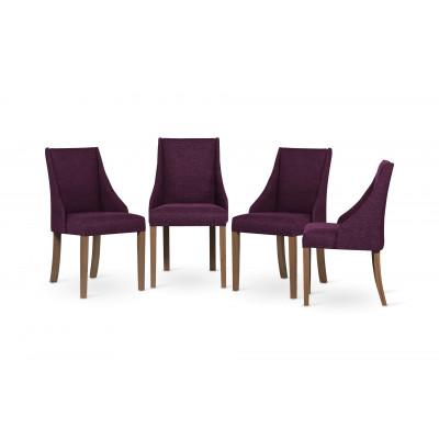 4-er Set Esszimmerstühle Absolu | Fuchsia & Braune Beine