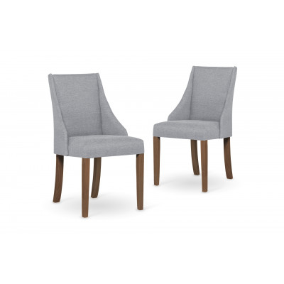 2-er Set Esszimmerstühle Absolu | Hellgrau & Braune Beine
