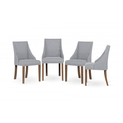 4-er Set Esszimmerstühle Absolu | Hellgrau & Braune Beine
