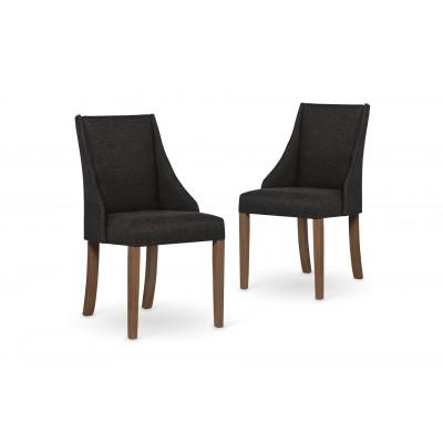 2-er Set Esszimmerstühle Absolu | Dunkelgrau & Braune Beine