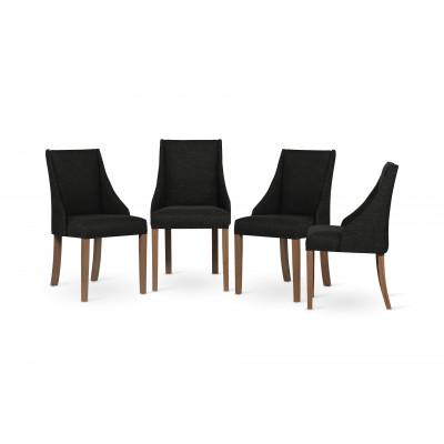 4-er Set Esszimmerstühle Absolu | Schwarz & Braune Beine