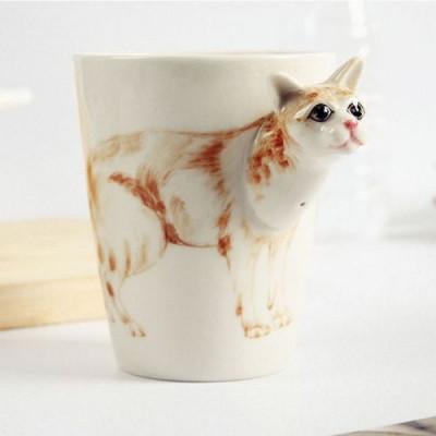 Hand-Painted Mug | White Cat