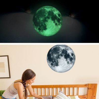 Fluoreszierender Mondwandaufkleber   Grau