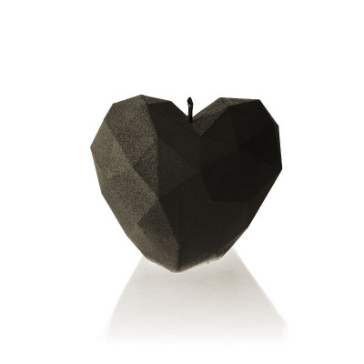 Candle   Heart Poly Black