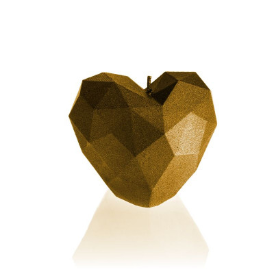 Candle   Heart Poly Gold