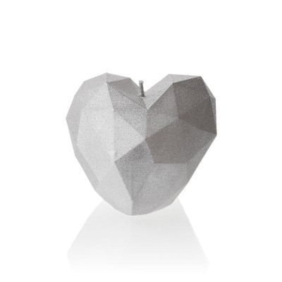 Candle   Heart Poly Silver