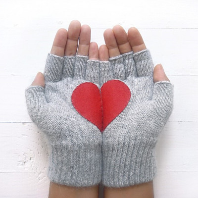 Handschuhe ohne Fingerspitzen Herz   Grau & Rot