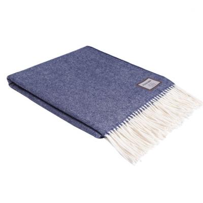 Herringbone Blanket   Blue & White