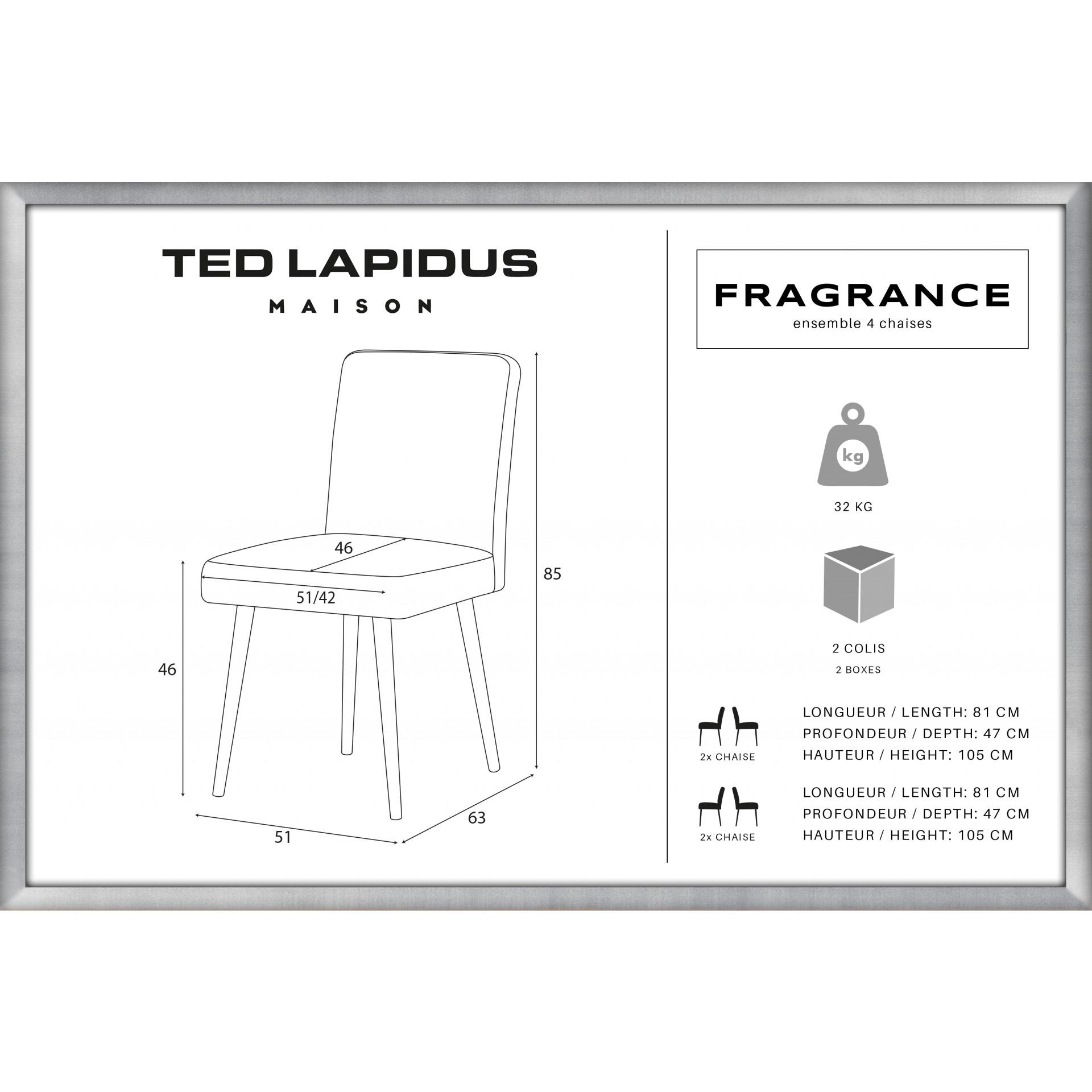 Fauteuil Fragrance | Jambes marron | Dossier anthracite | Lot de 4