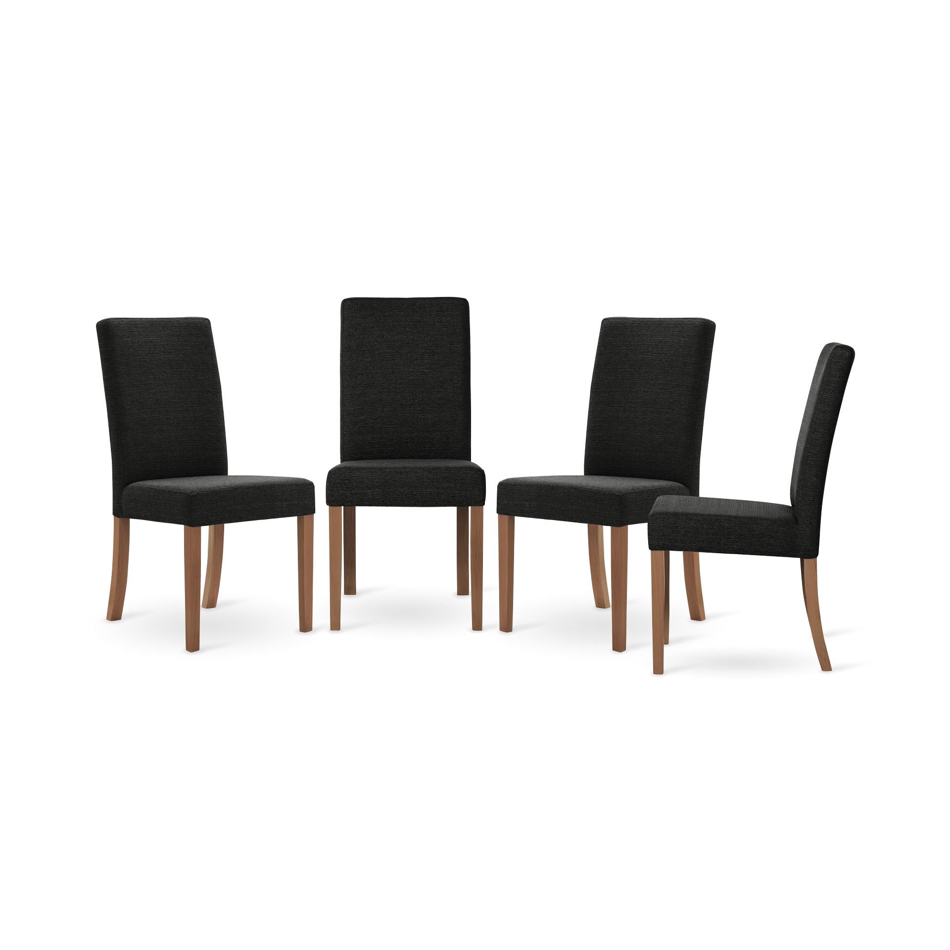 Set de 4 Chaises de Salle à Manger Tonka   Brun & Noir