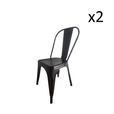 Stuhl HKM Metall 2er-Set | Schwarz