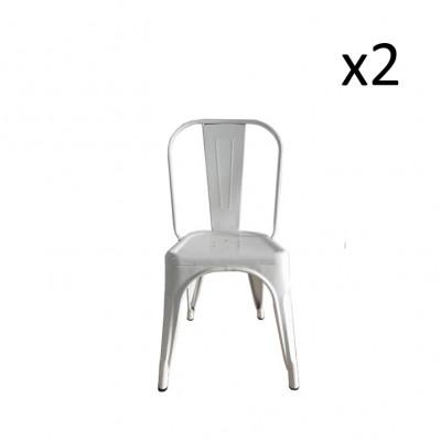 Stuhl HKM Metall 2er-Set | Weiß