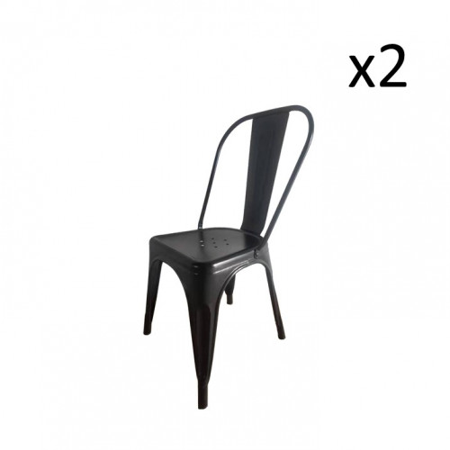 Chaise HKM Métal Set de 2   Noir