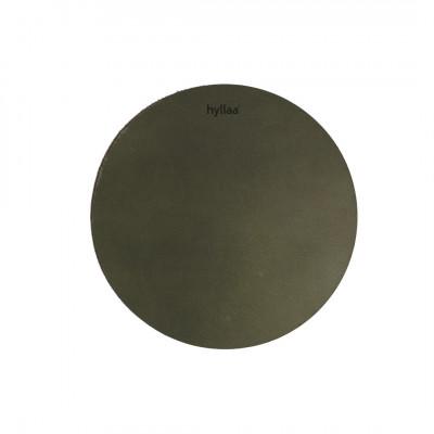 Rundes Leder-Platzset | Dunkelgrün