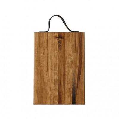 Holzschneidebrett mit Ledergriff 35 x 20 cm