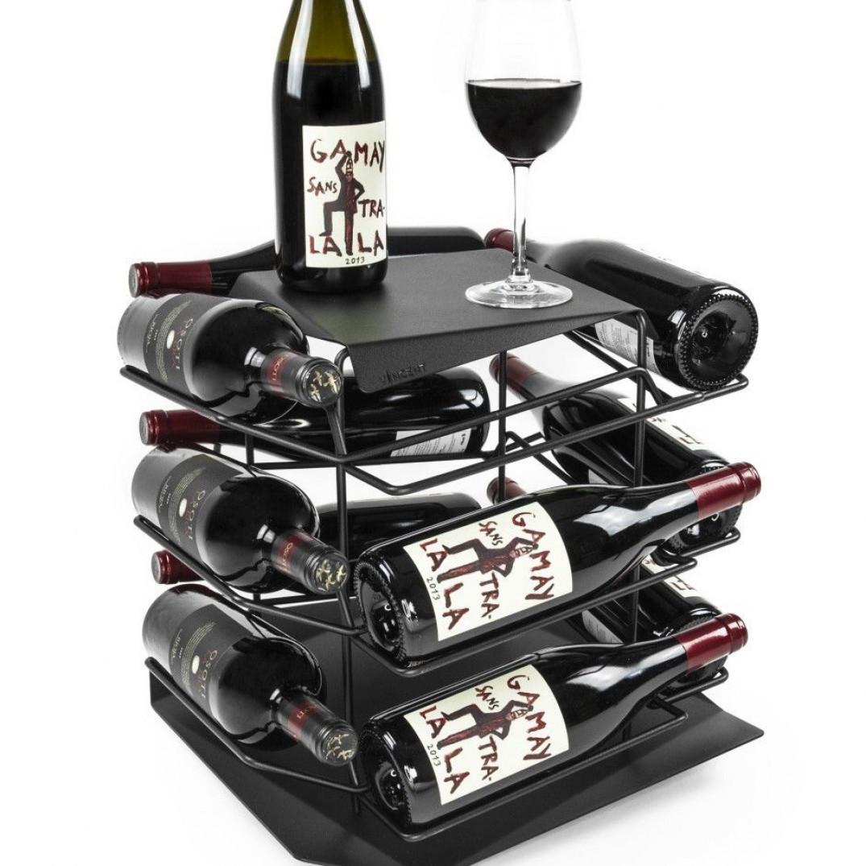 VINCENT Wine Rack 12 Bottles   Black