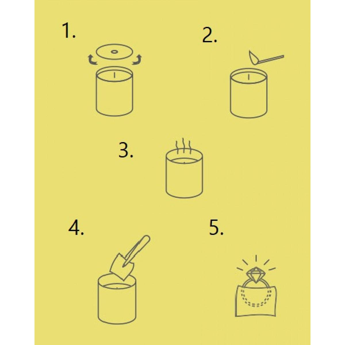 Kerze mit Silberner Ring | Himbeere