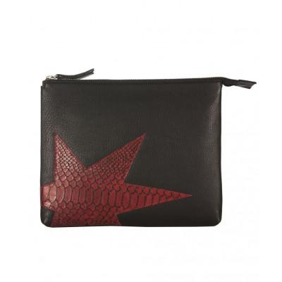 Rodriguez Leather iPad Clutch   Black Bordeaux