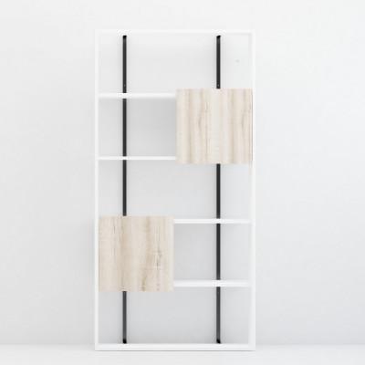 Bücherregal Rab | Eiche + Weiß + Schwarz