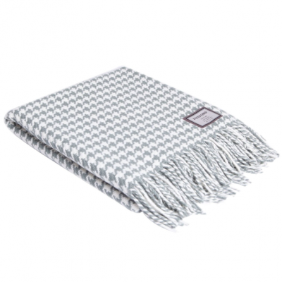 Houndstooth Blanket   Grey & White
