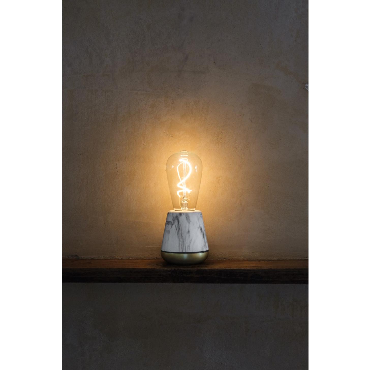 Drahtlose Tischlampe One | Weißer Marmor / Messing
