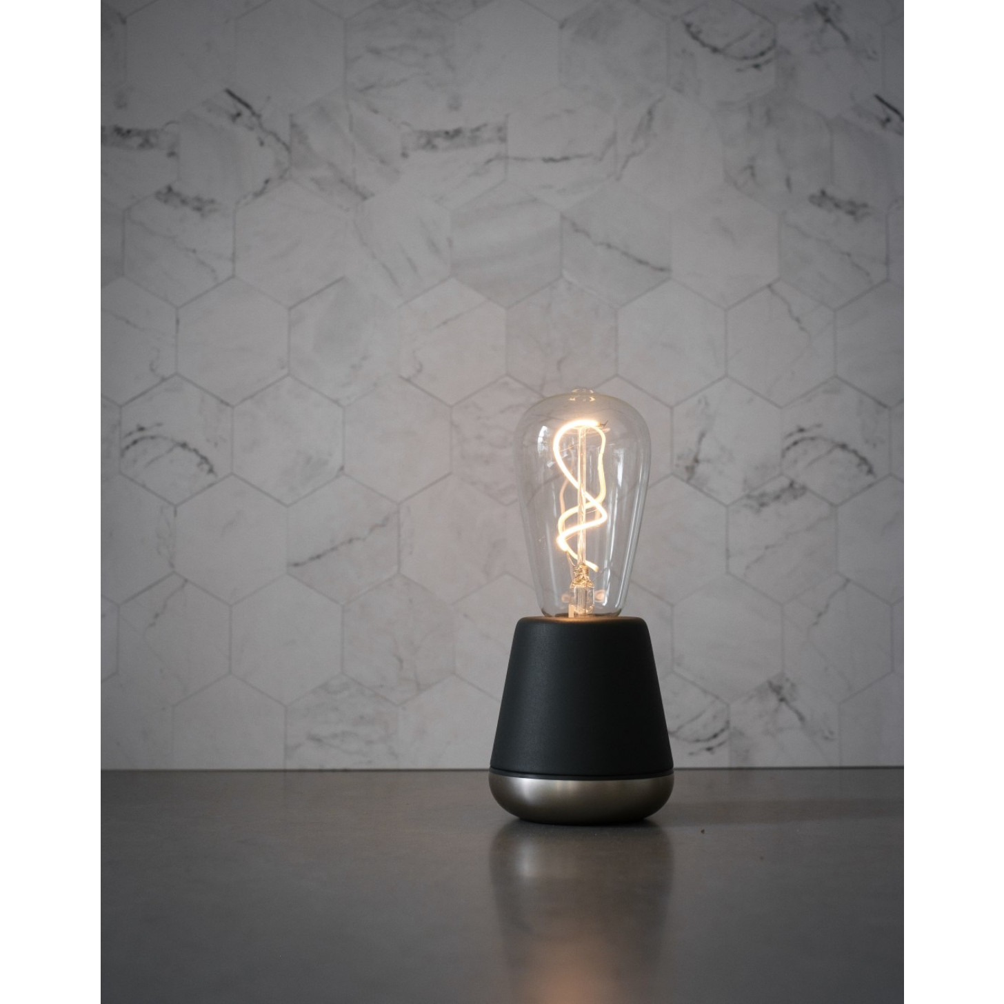 Cordless Table Lamp One | Dark Grey / Nickle