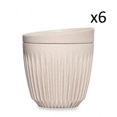 Wiederverwendbare Kaffeetasse + Deckel Huskee 18 cl / 6er-Set | Naturel