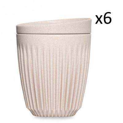 Wiederverwendbare Kaffeetasse + Deckel Huskee 24 cl / 6er-Set | Naturel