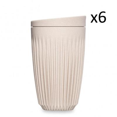 Wiederverwendbare Kaffeetasse + Deckel Huskee 36 cl / Set de 6 | Naturel