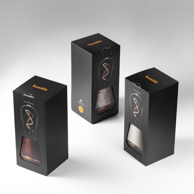 Drahtlose Tischlampe One   Schwarz Marmor