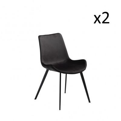 Stuhl Hype | Velvet Meteorite Black & Black Legs | 2er-Set