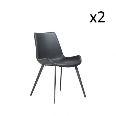 Stuhl Hype | Schwarzes PU-Leder & schwarze Beine | 2er-Set
