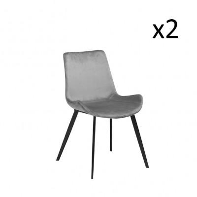 Stuhl Hype | Velvet Grey & Black Legs | 2er-Set