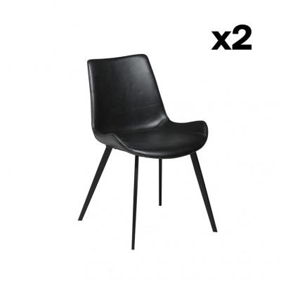 2er Set Stühlen Hype | Vintage Black PU Leather & Black Legs