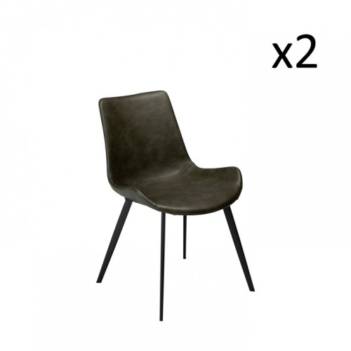 Stuhl Hype | Vintage Green PU-Leder & schwarze Beine | 2er-Set