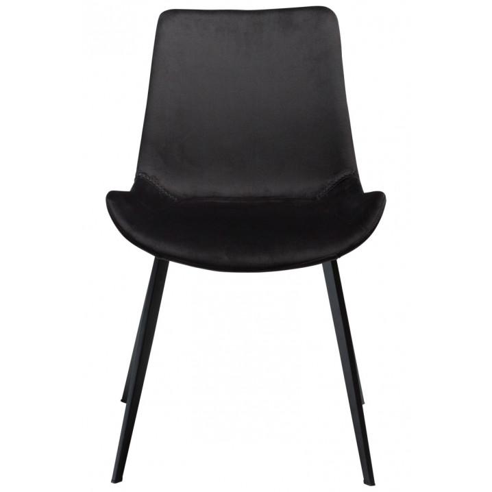 Chaise Hype | Météorite en velours noir et pattes noires | Lot de 2