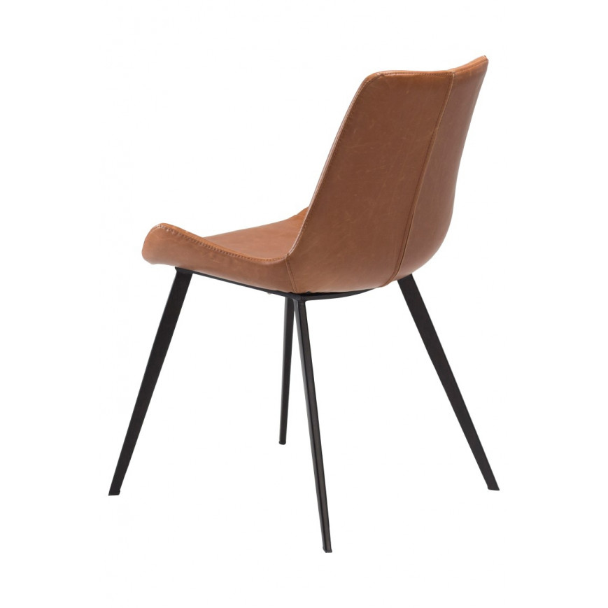 2er Set Stühle Hype | Vintage hellbraunes PU-Leder & Schwarze Beine