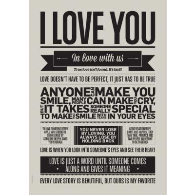 Liebe Typografie Poster   Ich liebe dich