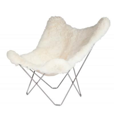 Schmetterling-Stuhl Isländisches Schaffell | Kurz Weiß / Chrom-Stahlgestell