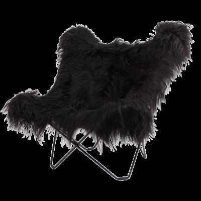 Stuhl Butterfly Isländisches Schaffell | Schwarzes Stahlgestell