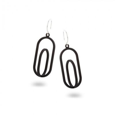 Eingerahmte Ohrringe Oval | Schwarz