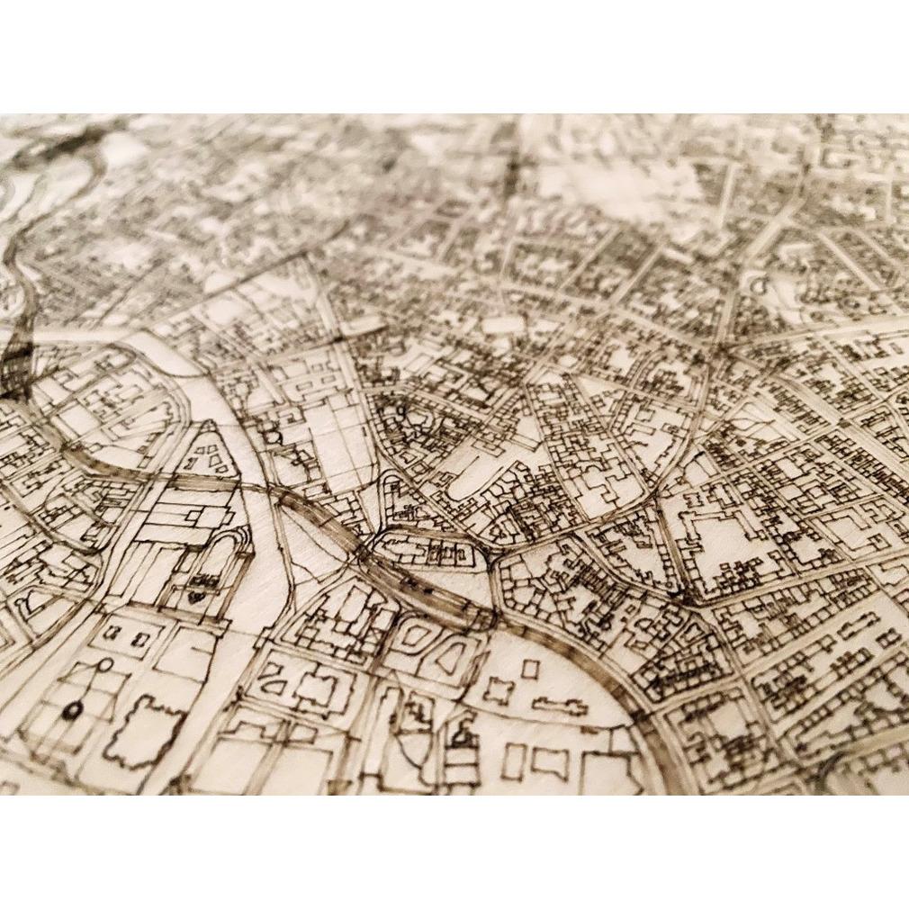 Wooden Wall Decoration   City Map   Berlin-70 x 50 cm